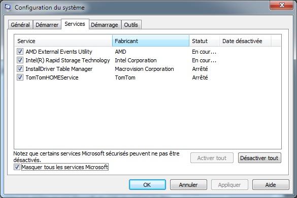 MSCONFIG : services filtrés