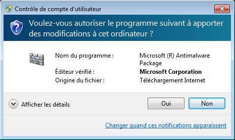 Windows Defender Offline : UAC