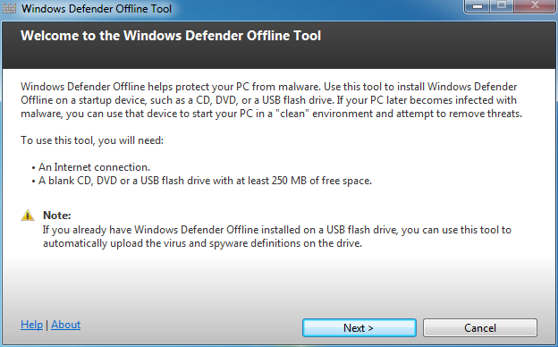 Windows Defender Offline : Bienvenue
