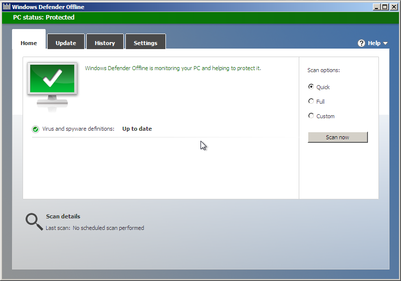 Windows Defender Offlne : Accueil